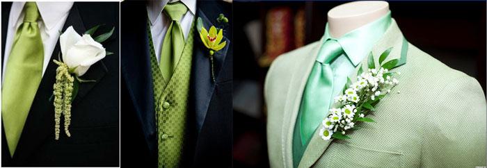 Наряд жениха с зелеными тонами