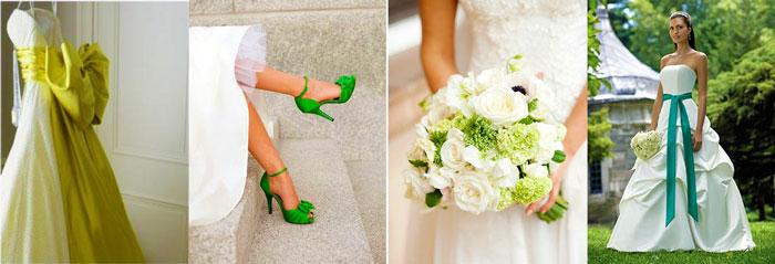 Наряды невесты с зелеными тонами