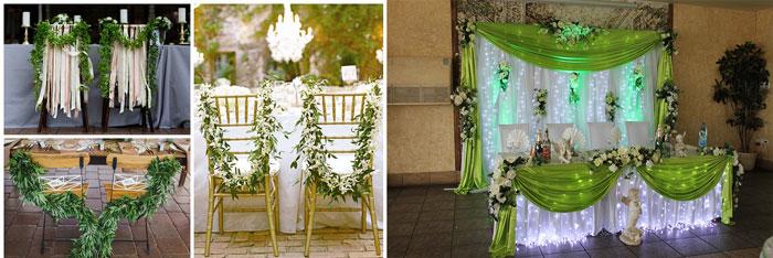 Свадебный декор зала с зелеными тонами