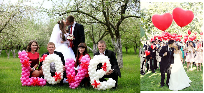 Свадебная фотосессия с буквами и сердцами