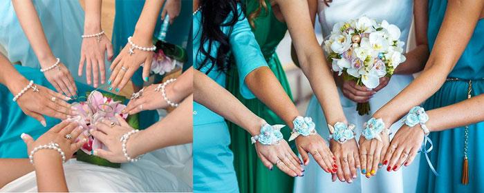Руки со свадебными браслетами