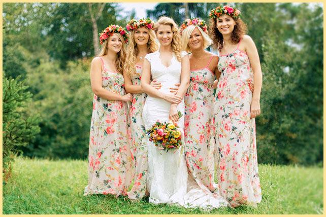 Невеста с подругами на природе