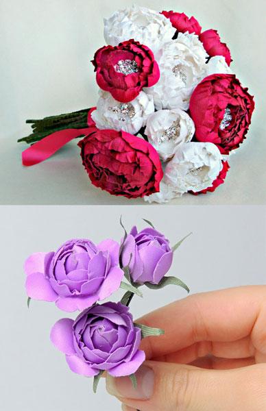 Букет и украшение цветами из ткани