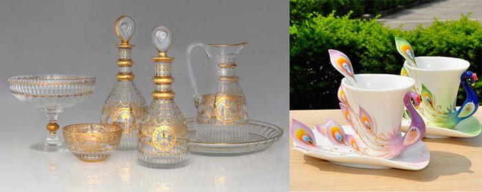 хрустальная посуда и фарфоровые чашки лебеди