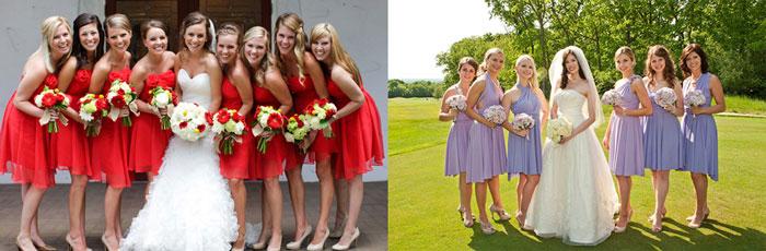 Невеста с подружками разные наряды