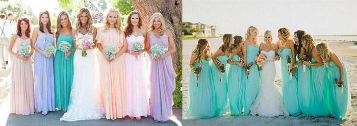 Невесты с подружками в разных нарядах