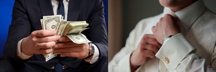 Жених с пачкой денег и жених поправляет галстук