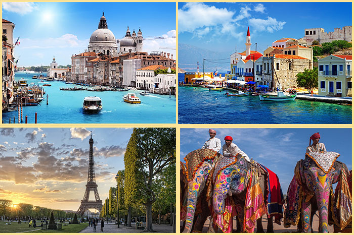 Италия, Франция, Греция и Индия