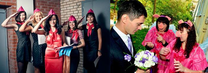 Девушки в пилотках и жених на выкупе невесты