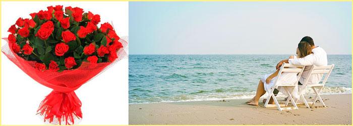 Красные розы и отдых на пляже пары