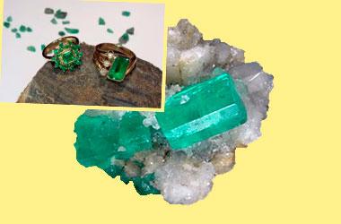 Кристалл берилл и колечки с бериллом
