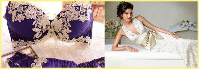Невеста в кружевном платье и кружевные подушки
