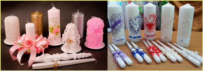 Свадебные свечи декор