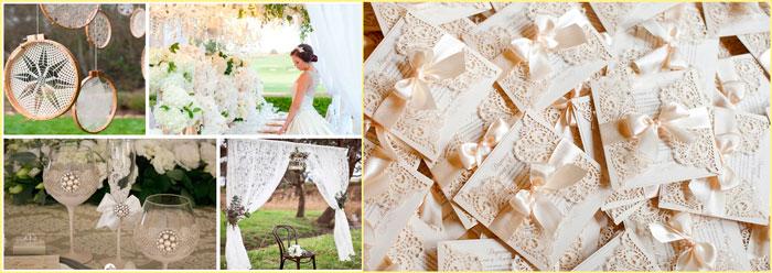 Пригласительные и свадьба в кружевном стиле