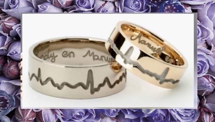 Вид красивого обручального кольца
