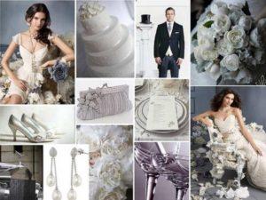 Для оформления зимних свадеб дополнением к серебряному может стать нежно-голубой либо белый