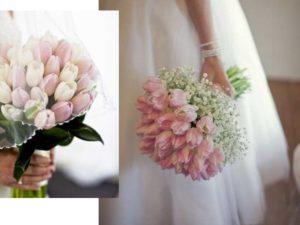 Для букета невесты подбирают тюльпаны не только по тону